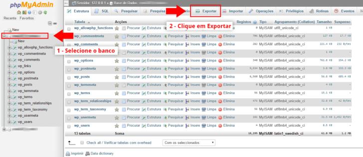Exportação do banco de dados MySQL via PHPMyAdmin