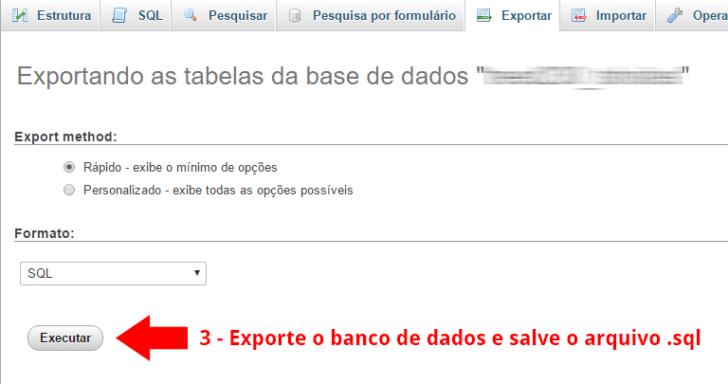 Exportação do banco de dados MySQL via PHPMyAdmin - passo 2
