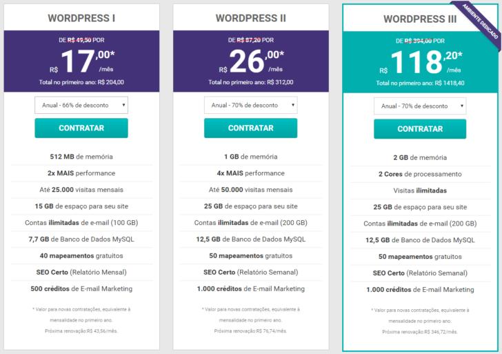 Planos da hospedagem WordPress KingHost
