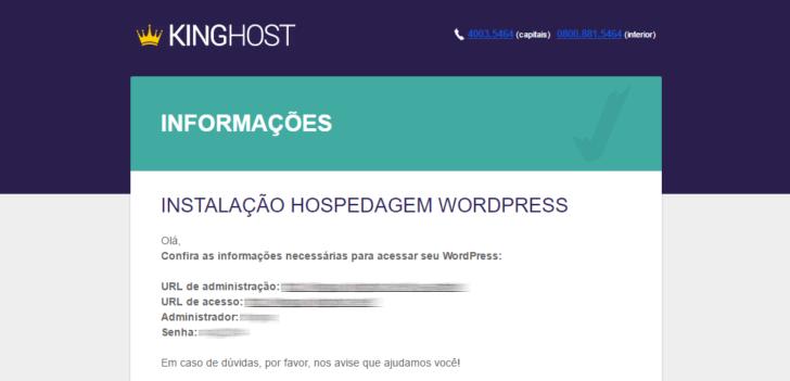 E-mail com os dados de acesso ao painel WordPress