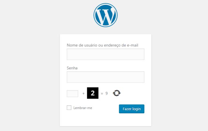 Formulário de login WordPress