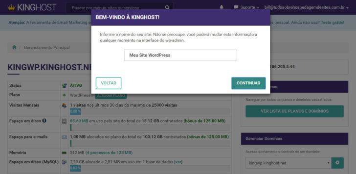painel de controle Kinghost hospedagem WordPress