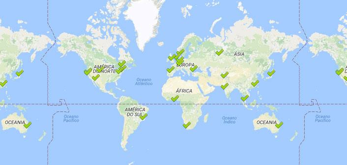 Representação da propagação do DNS pelo mundo