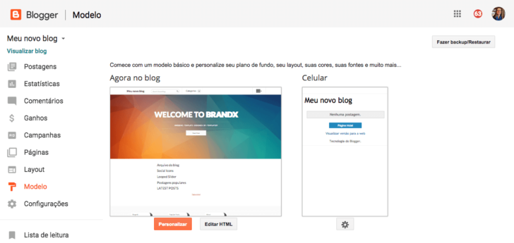 Blogger painel