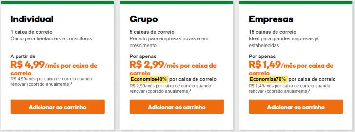 E-mail Profissional GoDaddy - tabela de preços e planos