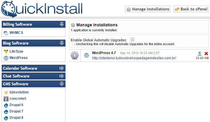 Instalador automático QuickInstall, da HostGator - amostra de aplicações disponíveis