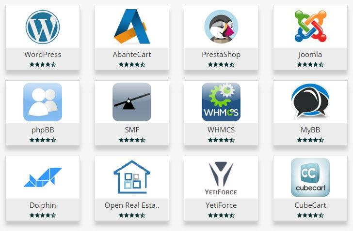 Instalador automático Softaculous - amostra de aplicações disponíveis