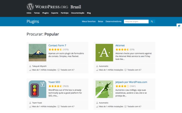 WordPress - diretório de plugins