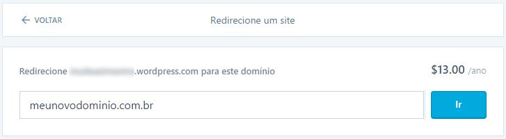 Redirecionar domínio em WordPress.com