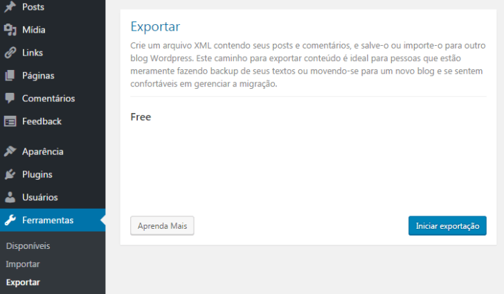 WordPress.com - Exportar pelo wp-admin