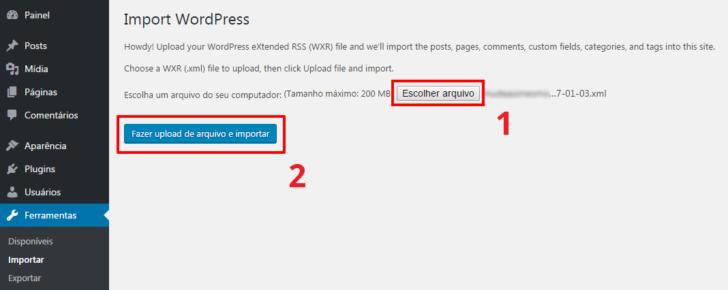 WordPress fazer upload do arquivo de importação