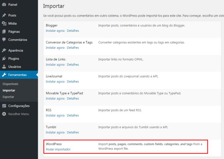 WordPress - importar conteúdo