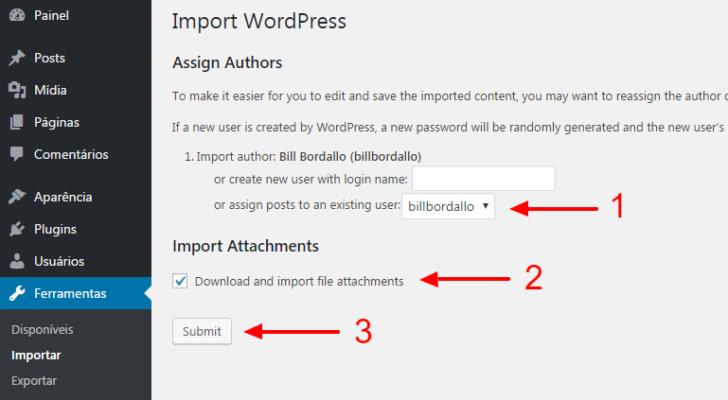 WordPress - opções de importação