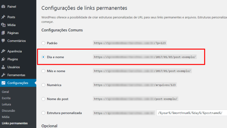 WordPress - estrutura de links permanentes