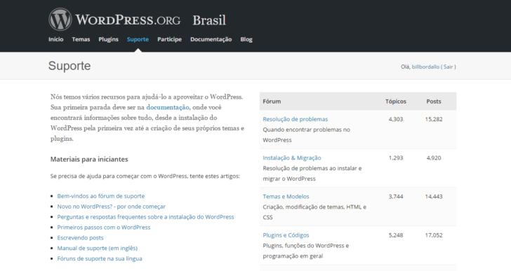 Fórum de suporte WordPress.org