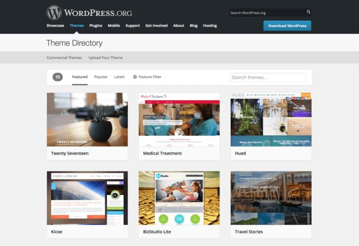 WordPress diretório de temas