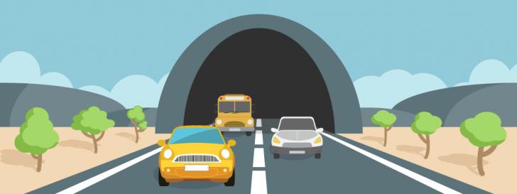 Tráfego de carros em um túnel