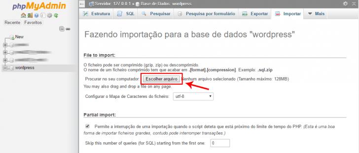PHPMyAdmin importar base