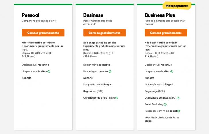 Planos e preços novo criador de sites GoDaddy