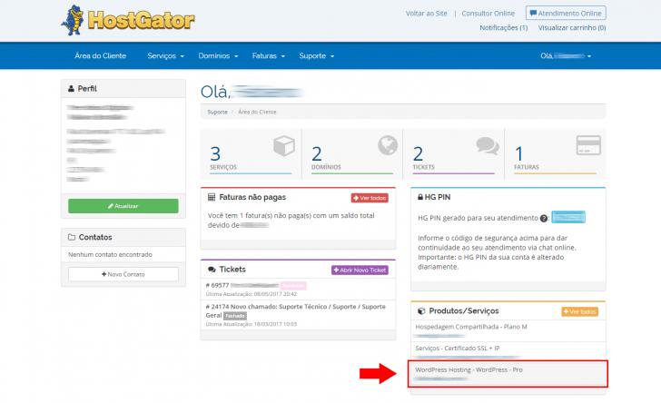 Hospedagem WordPress HostGator: acesso ao painel de controle