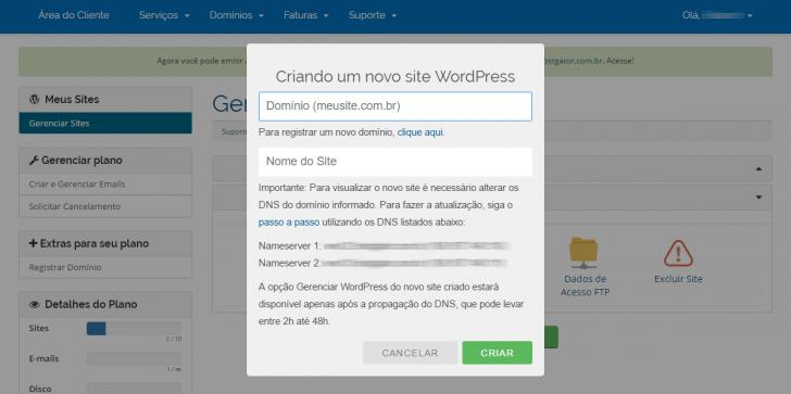 Hospedagem WordPress HostGator: criação de novo site