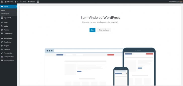 Hospedagem WordPress HostGator: tela de boas-vindas