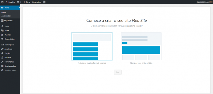 Hospedagem WordPress HostGator: configuração página inicial