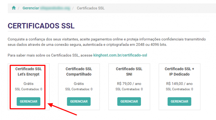 Gerenciar certificados SSL na KingHost