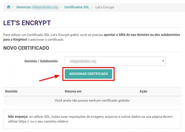 Adicionar certificado SSL Let's Encrypt