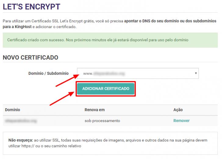 Adicionar certificado em URL com www