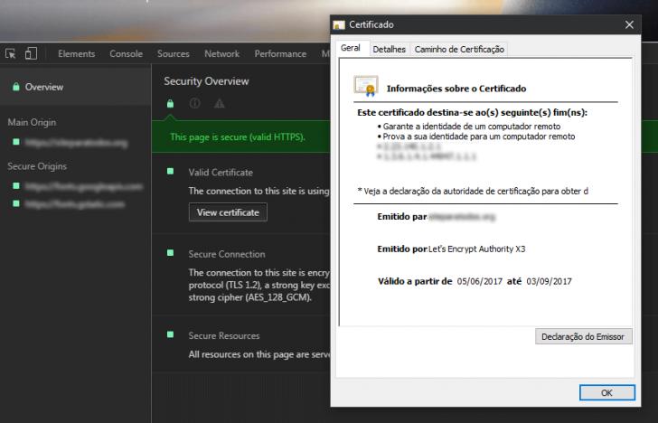 Certificado Let's Encrypt no painel de ferramentas do desenvolvedor