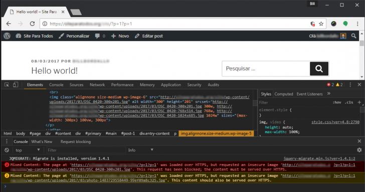 URLs inseguras sendo exibidas na tela de ferramentas do desenvolvedor