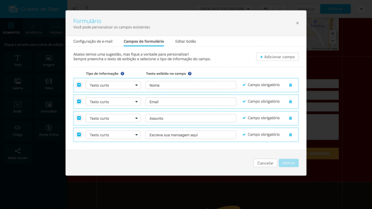Inserção de formulário - Criador de Sites Locaweb