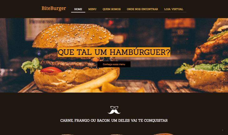 Resultado: tema customizado no criador de sites Locaweb