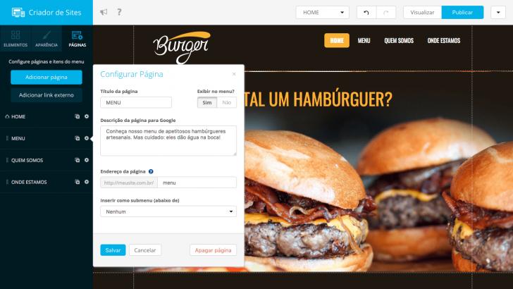 Criador de Sites Locaweb - edição de página menu