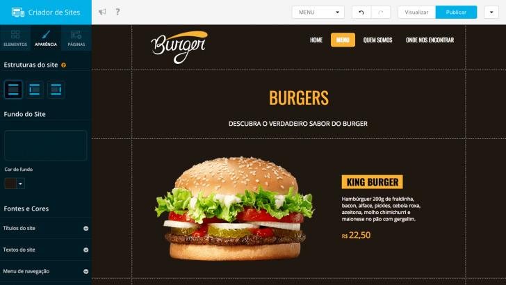 Criador de Sites Locaweb - aparência