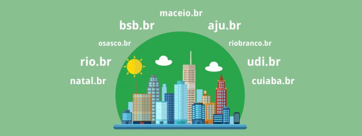 Categorias de domínios para cidades brasileiras, incluindo Rio de Janeiro e Brasília