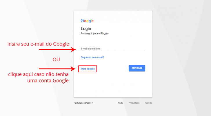 Login conta Google