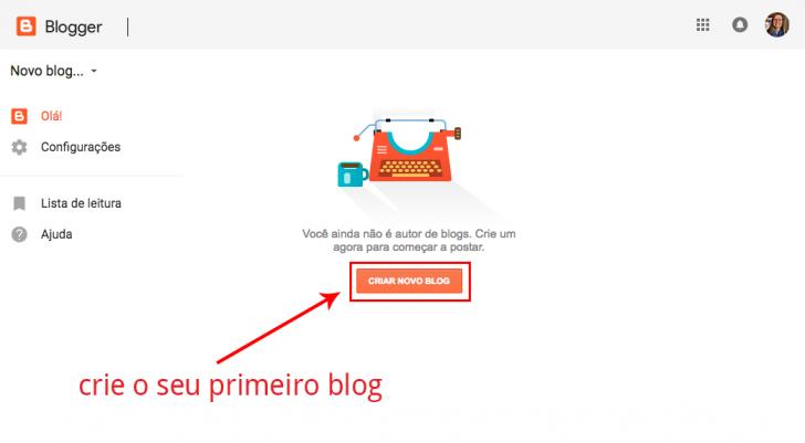Criar novo blog no Blogger