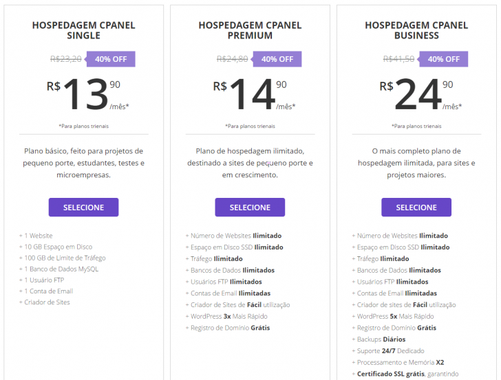 Hospedagem de sites cPanel Hostinger