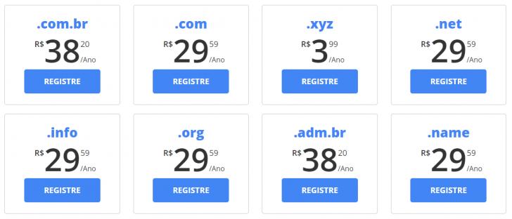 Registro de domínios na WebLink