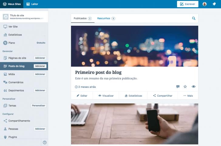 Área de administração do WordPress.com