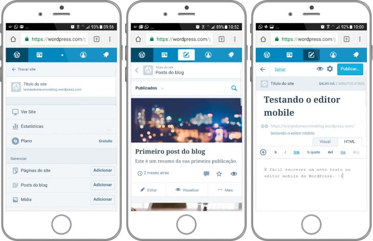 Administração mobile WordPress.com