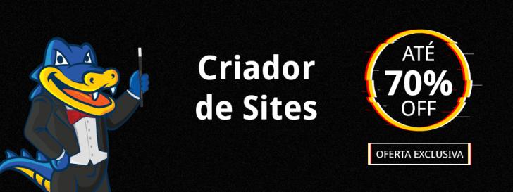 Criador de Sites HostGator 70% OFF
