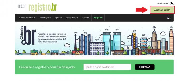 O primeiro passo é acessar o site do Registro.br
