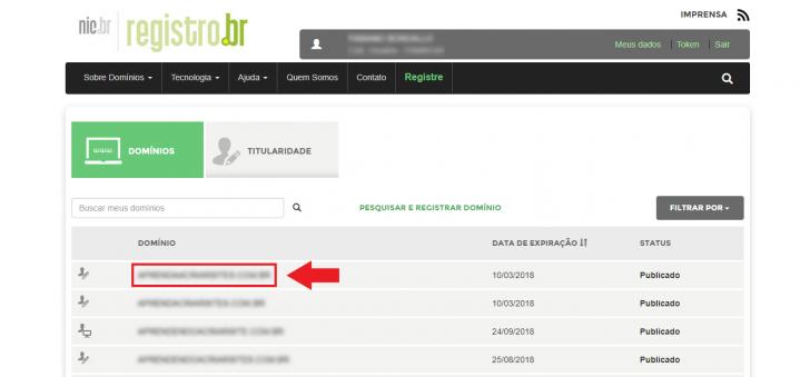 Lista de domínios no painel do Registro.br