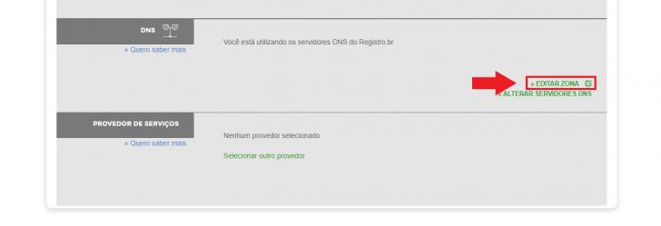 Tela de edição de DNS, no painel do Registro.br