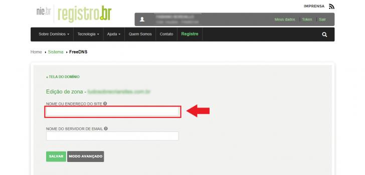 Para redirecionar um domínio pelo Registro.br, informe o endereço no campo correspondente