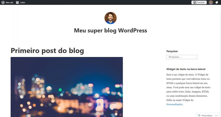 Blog imediatamente após a sua criação
