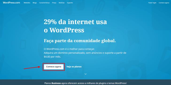 Passo 1 para criação de um blog no WordPress .com